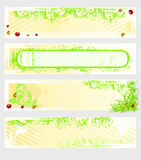 Set of vector spring banners. With grass and colored ladybugs Stock Image