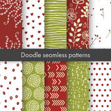 Set of vector spring patterns with flowers, doodle pattern, branches, leaves, dots, hearts. White, red, green colors. Seamless pattern is in the swatches Royalty Free Illustration