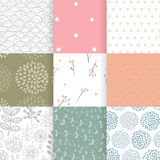 Set of vector spring patterns with flowers, doodle pattern, branches, leaves. White, green, pink, blue colors. Seamless pattern is in the swatches palette Stock Photo