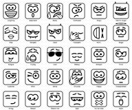 Set Vector Square Smiles. Set Vector 30 Square Smileys with rounded corners Stock Images