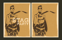 Set of vector Stag party posters Stock Photo