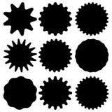 Set of vector starburst, sunburst badges. Black icons on white background. Simple flat style vintage labels, stickers. Vector illustration isolated on white royalty free illustration
