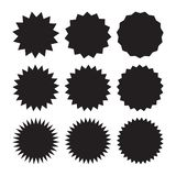 Set of vector starburst, sunburst badges. Black icons on white background. Simple flat style vintage labels, stickers. royalty free illustration