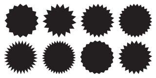 Set of vector starburst, sunburst badges. Black icons on white background. Simple flat style vintage labels, stickers. Vector illustration isolated on white vector illustration
