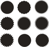 Set of vector starburst, sunburst badges. Black on white color. A collection of different types icon. Stock Images