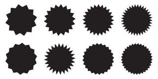 Set of vector starburst, sunburst badges. Design elements - best for sale sticker, price tag, quality mark. Flat vector illustrati. On isolated on white stock illustration
