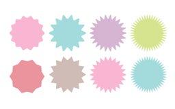 Set of vector starburst, sunburst badges. eight different color. Simple flat style Vintage labels royalty free illustration