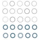 Set of vector starburst, sunburst badges.  Simple flat style. Vintage labels. Round vignette, frame Stock Images