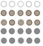 Set of vector starburst, sunburst badges.  Simple flat style. Vintage labels. Round vignette, frame Stock Image