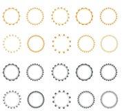 Set of vector starburst, sunburst badges.  Simple flat style. Vintage labels. Round vignette, frame Stock Photo