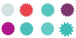 Set of vector starburst, sunburst badges. Vintage labels. Colored stickers.  A collection of different types and colors icon. Royalty Free Stock Photos