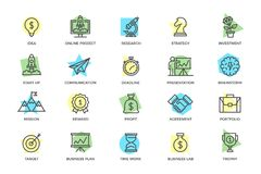 Set of vector startup and business colored line icons with titles. Mountain peak, target, light bulb, trophy, award stock illustration