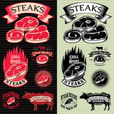 Set of vector steak template for grilling, barbecue, menu Royalty Free Stock Image