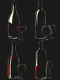 Set of vector stemware in the dark. Royalty Free Stock Photo