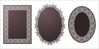 Set of Vector Stencil lacy oval and rectangle frames with carved. Openwork pattern. Template for interior design, layouts wedding invitations, greeting cards Royalty Free Stock Image