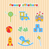 Set of vector sticker of toys Stock Image