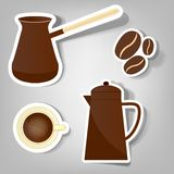 Set of vector stickers. A set of stickers to advertise coffee Royalty Free Stock Images