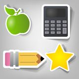 Set of vector stickers. Set of design elements to advertise the school time Royalty Free Stock Image