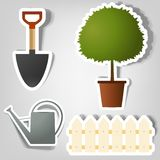 Set of vector stickers. Set of design elements to advertise gardening tools Royalty Free Stock Images