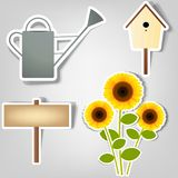 Set of vector stickers. Set of design elements to advertise gardening tools Stock Images