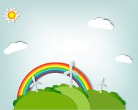 Set of vector stickers. Stylized vector landscape with windmills, a rainbow,sun and clouds Stock Image