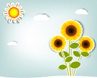 Set of vector stickers. Stylized vector sunflower on background sky, clouds and sun Royalty Free Stock Photo
