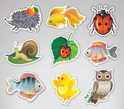 Set of vector stickers with animals Royalty Free Stock Image