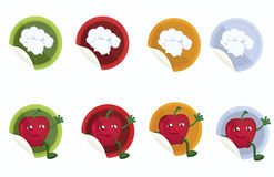 Set-of-vector-stickers-with-chef-hat-and-apple Royalty Free Stock Photo