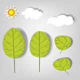 Set of vector stickers. Clouds and trees Stock Photography