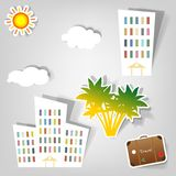 Set of vector stickers. A set of design elements to advertise travel services Royalty Free Stock Photography
