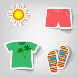 Set of vector stickers. A set of design elements to advertise travel services Royalty Free Stock Image