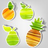 Set of vector stickers. fresh fruit. Set of design elements for advertising fresh fruit Stock Photo