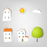 Set of vector stickers. Houses. Royalty Free Stock Image