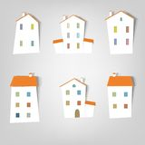 Set of vector stickers. Houses. A set of elements design for advertising real estate services Stock Photos