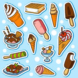Set of vector stickers (ice cream) Royalty Free Stock Photo