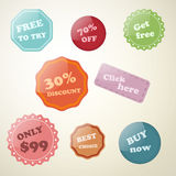 Set of vector stickers and labels. Set of labels for stores, sales and printing stickers Vector Illustration