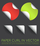 Set of Vector Stickers with Paper Curl. EPS 10 Royalty Free Stock Photos