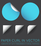 Set of Vector Stickers with Paper Curl. EPS 10 Royalty Free Stock Images