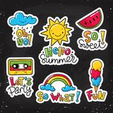 Set of vector stickers, patches with lettering. Food and summer symbols Royalty Free Stock Photos