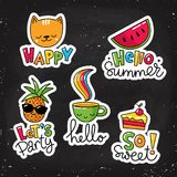 Set of vector stickers, patches with lettering. And summer symbols Royalty Free Stock Photography