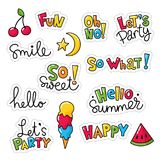 Set of vector stickers, patches with lettering. And summer symbols Stock Photos