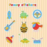 Set of vector stickers of toys for children Stock Images