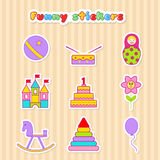Set of vector stickers of toys. Stock Images