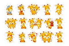 Set Vector Stock isolated Emoji character cartoon giraffe stickers emoticon Stock Photo