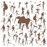 Set of vector stone age rock drawings ancient art illustration isolated on white background. stock illustration