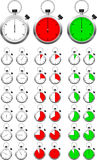 Set of vector stopwatch timers Stock Photography