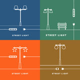Set 4 vector street lights and socket icon Royalty Free Stock Images