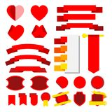 Set of vector stripes and ribbons. Collor red. Icons. Set of  stripes and ribbons. Collor red. Icons. Vector illustration Royalty Free Stock Photography