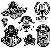 Set of vector stylish retro pattern with microphones, radio, podcast, show Stock Images