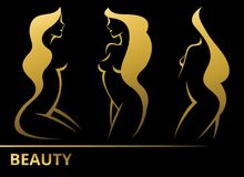 Set vector stylized beautiful women silhouettes Stock Images